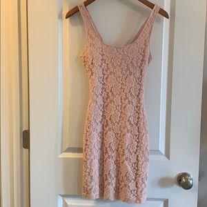 Pink lace lined mini dress
